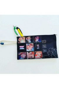 BTS DNA Baskılı İpli Lacivert Bez Cüzdan Kalemlik
