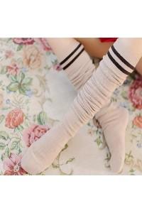 Uzun Kalın Diz Üstü Çorap 60 cm Krem